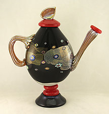 Black Blossom Teapot by Ken Hanson and Ingrid Hanson (Art Glass Teapot)