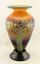 Classic Peach Vines Vase on Base by Ken Hanson and Ingrid Hanson (Art Glass Vase)