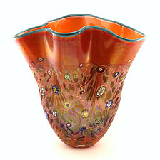 Monet Fan Vase by Ken Hanson and Ingrid Hanson (Art Glass Vase)