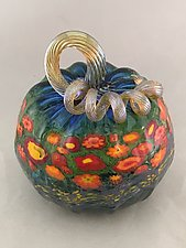 Poppy Pumpkins by Ken Hanson and Ingrid Hanson (Art Glass Sculpture)