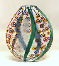 Aqua and Emerald Mosaic Pouch by Ken Hanson and Ingrid Hanson (Art Glass Vase)