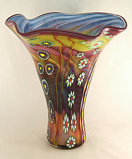 Fluted Topaz and Ruby Aquarium Vase by Ken Hanson and Ingrid Hanson (Art Glass Vase)