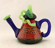 Red Garden Sculptural Teapot by Ken Hanson and Ingrid Hanson (Art Glass Teapot)