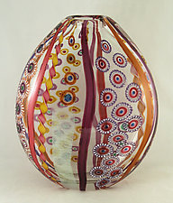 Large Ruby/Amethyst/Salmon Mosaic Vase by Ken Hanson and Ingrid Hanson (Art Glass Vase)