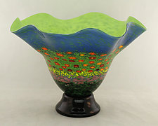 Footed Fluted Poppy Bowl by Ken Hanson and Ingrid Hanson (Art Glass Bowl)