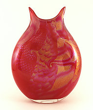 Red Harlequin Vase by Ken Hanson and Ingrid Hanson (Art Glass Vase)