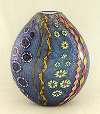 Aqua Aquarium Vase by Ken Hanson and Ingrid Hanson (Art Glass Vase)