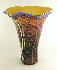 Aurora and Amethyst Fluted Aquarium Vase by Ken Hanson and Ingrid Hanson (Art Glass Vase)