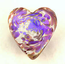 Opaline Swirl Heart Paperweight by Ken Hanson and Ingrid Hanson (Art Glass Paperweight)