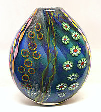Aqua Seascape Pouch by Ken Hanson and Ingrid Hanson (Art Glass Vase)