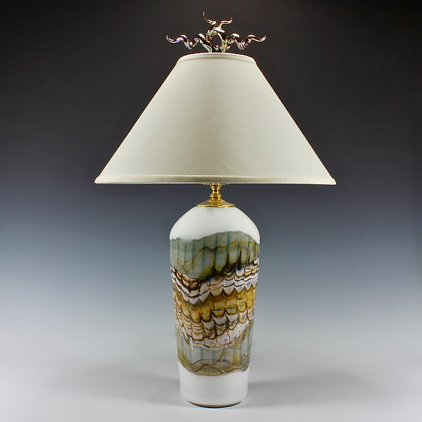 White Opal Table Lamp with Juniper Finial