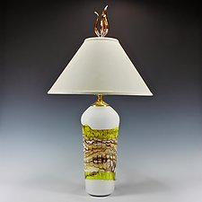 White Opal Lime Table Lamp with Tulip Finial by Danielle Blade and Stephen Gartner (Art Glass Table Lamp)