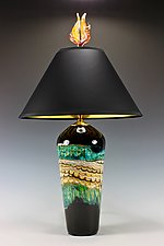 Black Opal Turquoise Table Lamp with Tulip and Tendril Finial by Danielle Blade and Stephen Gartner (Art Glass Table Lamp)