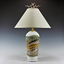 White Opal Sage Table Lamp with Juniper Finial by Danielle Blade and Stephen Gartner (Art Glass Table Lamp)