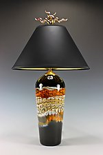 Black Opal Table Lamp with Juniper Finial by Danielle Blade and Stephen Gartner (Art Glass Table Lamp)