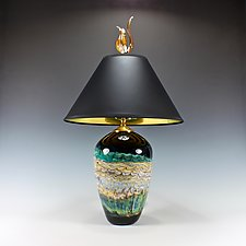 Black Opal Turquoise Table Lamp with Tulip Finial by Danielle Blade and Stephen Gartner (Glass Table Lamp)