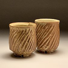 Pair of Carved Iron Yellow Cups by Steve Murphy (Ceramic Drinkware)