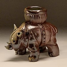 Rhinoceros Candy Basket No. 1 by Steve Murphy (Ceramic Servingware)