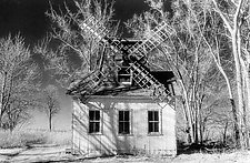 Windmill in Winter II by Elizabeth Holmes (Black & White Photograph)