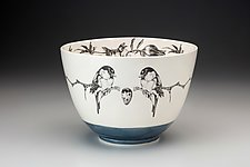 Large Chickadee Bowl by Laura Zindel (Ceramic Bowl)