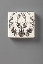 Wall Box: Red Stag by Laura Zindel (Ceramic Wall Sculpture)