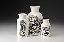 Set of Three Jars: Sea Life by Laura Zindel (Ceramic Vase)