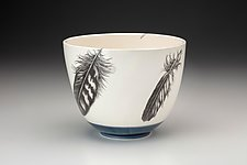 Medium Quail Feathers Bowl by Laura Zindel (Ceramic Bowl)