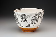 Large Honey Bee Bowl by Laura Zindel (Ceramic Bowl)