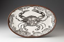 Oval Platter: Blue Crab by Laura Zindel (Ceramic Platter)