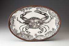 Oval Platter: Blue Crab by Laura Zindel (Ceramic Platter)