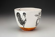 Medium Rooster Bowl by Laura Zindel (Ceramic Bowl)