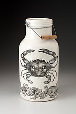 Jug with Handle: Blue Crab by Laura Zindel (Ceramic Vase)