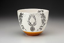 Medium Red Stag Bowl by Laura Zindel (Ceramic Bowl)