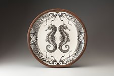 Large Round Platter: Seahorse by Laura Zindel (Ceramic Platter)