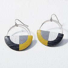 Large Wire Stripe Loop Earrings by Bonnie Bishoff and J.M. Syron (Steel & Polymer Earrings)