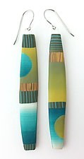 Long Drop Earrings by Bonnie Bishoff and J.M. Syron (Steel & Polymer Earrings)