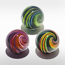 Set of Three Onion Skin Marbles by Michael Trimpol and Monique LaJeunesse (Art Glass Paperweight)