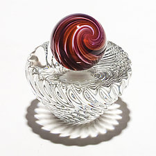 Onion Skin Marble on 24 Rib Twisted Dish by Michael Trimpol and Monique LaJeunesse (Art Glass Paperweight)