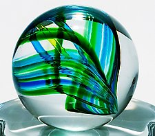 Marble on 24 Rib Twisted Dish by Michael Trimpol and Monique LaJeunesse (Art Glass Paperweight)