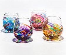 Set of Four Stemless Vortex Wine Glasses by Michael Trimpol and Monique LaJeunesse (Art Glass Drinkware)