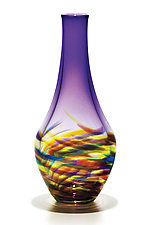 Vortex Long Neck Vase in Lime Mix with Grape by Michael Trimpol and Monique LaJeunesse (Art Glass Vase)