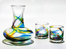 Helix Carafe and Whiskey Glasses by Michael Trimpol and Monique LaJeunesse (Art Glass Drinkware)