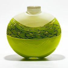 Spotted Banded Flat Vase by Michael Trimpol and Monique LaJeunesse (Art Glass Vase)
