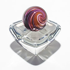 Onion Skin Marble on Square Dish by Michael Trimpol and Monique LaJeunesse (Art Glass Paperweight)