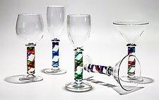 Helix Column Stemware by Michael Trimpol and Monique LaJeunesse (Art Glass Drinkware)
