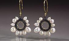 Round Pearl Framed Earrings by Dahlia Kanner (Gold, Silver, & Pearl Earrings)