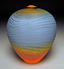 Turquoise Wave II by Nicholas Bernard (Ceramic Vessel)