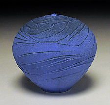 Vivid Blue Topography IV by Nicholas Bernard (Ceramic Vessel)