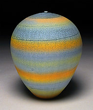 Turquoise Bands by Nicholas Bernard (Ceramic Vessel)