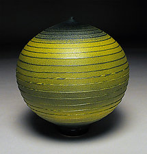 Tight Green Spiral by Nicholas Bernard (Ceramic Vessel)